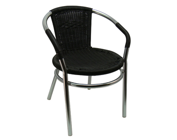 002 Aluminum Black Wicker Chair