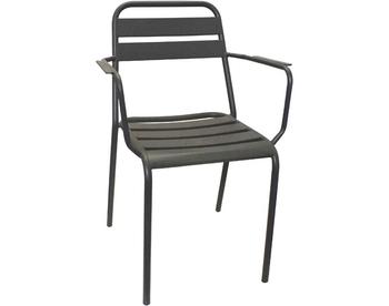 2006-Dark Grey Steel Arm Chair
