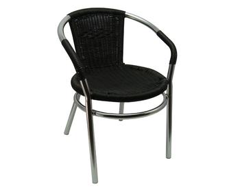 002 Aluminum Black Wicker Chair
